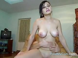 Dark-haired Russian chick with a good-looking orientation and big natural tits