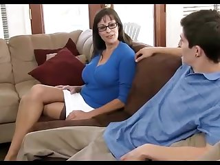 Dark haired mother loves wearing ebony pantyhose, while hotwife on her hubby in the living apartment