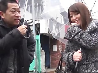 Japanese brunette babe picked up on the street, fucked and voice piebald